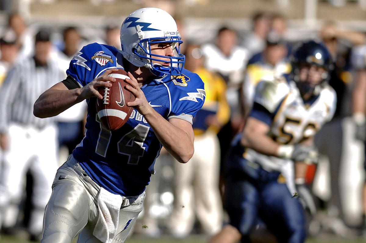 An athlete playing American football.
